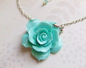 SALE SALE Turquoise Resin Rose Pendant with High Quality Rhodium Chain Necklace by Daintyhob on Etsy