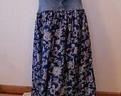 Denim & Paisley Long Skirt -  Upcycled Long Denim Skirt