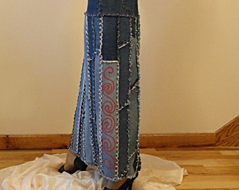 Ashley2day Made to Order Upcycled Long Jeans Skirt