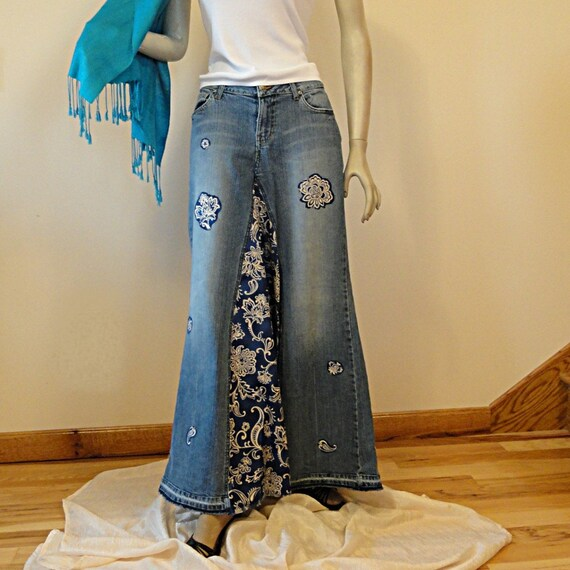 Pretty in Paisley Long Jean  - Made to Order Long Jean Skirt