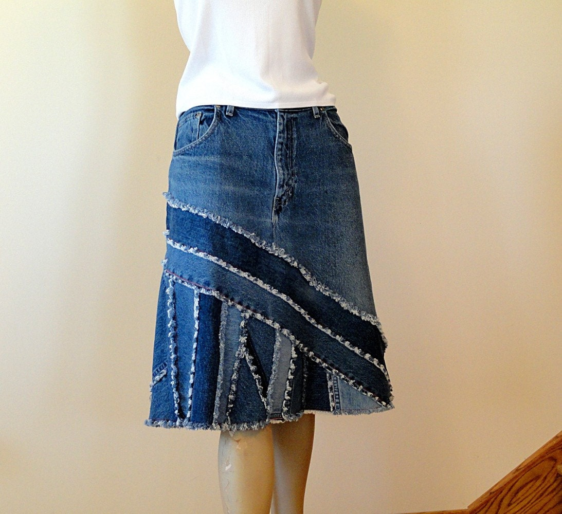 Upcycled Pieced Jean Skirt Ella 2day Denim Skirt