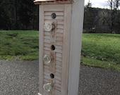 Shabby Chic Birdhouse, vintage shutter, escutcheons, glass doorknobs
