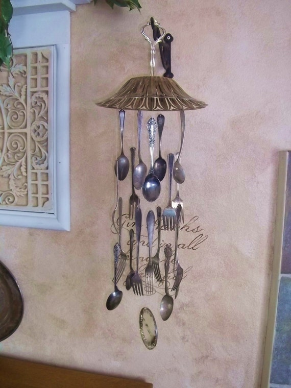 Vintage silver plate silverware wind chime windchime for Wind chimes out of silverware