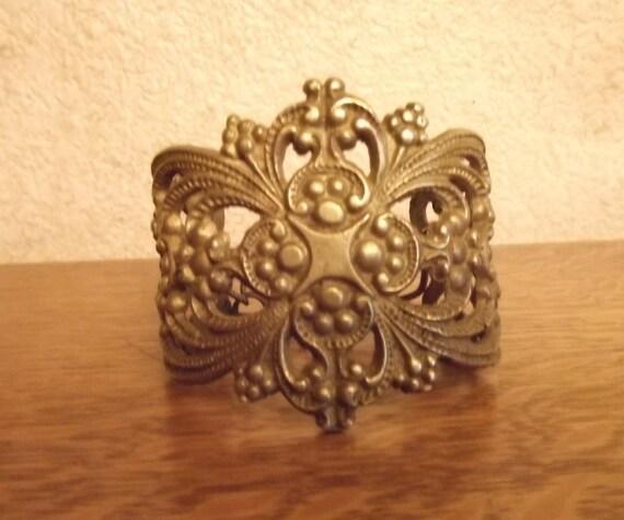 Vintage Brass Hardware bracelet , escutcheon, drawer pull