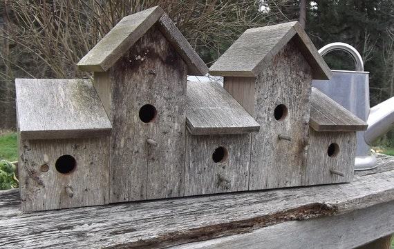 SALE Classic Barnwood Birdhouse, 5-plex Barn Wood