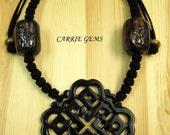 Cow Bone with Carved Black Jade RuYi Pendant Necklace, Gemstone Jewelry