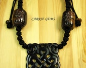 Cow Bone with Carved Black Jade Large RuYi Results Pendant Necklace