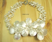 3-strand Freshwater Pearl with Handmade Shell Flower Necklace