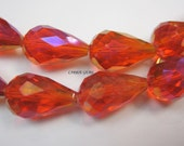 Red Chinese Crystal Pearl Drop 10mmx15mm, 4/PK