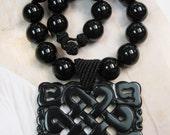 Onyx with Black Jade Pendant Necklace