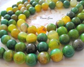 """Green and Yellow Agate 12mm Round Beads, 8"""" long, 14 pcs"""