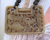Hand Knotted Cow Bone with Antique Carved Jade Necklace