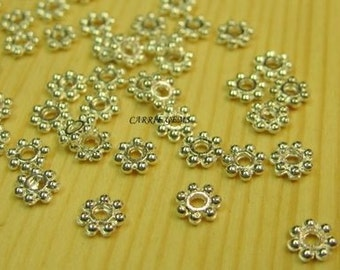 Silver Plated 2mm Flower Cap