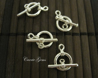 4 pcs Silver Plated Toggle Ring 10mm
