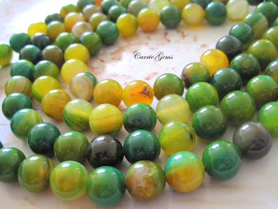 "Green and Yellow Agate 12mm Round Beads, 8"" long, 14 pcs"