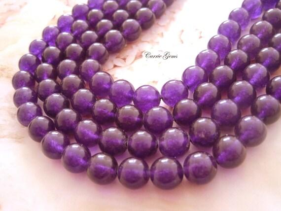 "16"" long (39 pcs) Amethyst Purple Jade Round 10mm Beads"