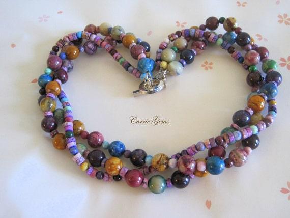 Rainbow Jade 3-strand Necklace