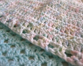 Hooded hand-crocheted mint green baby's blanket
