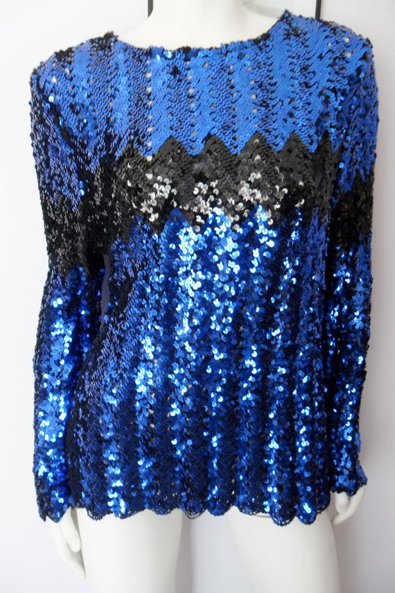 Vtg.80s Cobalt Blue & Black Sequin Zig Zag Long Sleeve Tunic Top Jumper Dress.M/L.Bust up to 42.