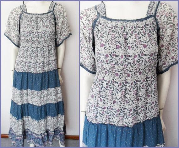 Vtg.70s Cotton Blue Purple Gold Ethnic Indian Mosaic Floral Print Flutter Sleeve Boho Maxi Dress.S.Bust 34-36.Waist 26-32.