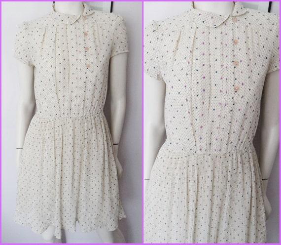 Vtg.80s Cream Rosette Dot Print Accordion Pleated Peter Pan Collar Mini Dress.S/M.Bust 36-40.Waist 26-32.Hips 43.
