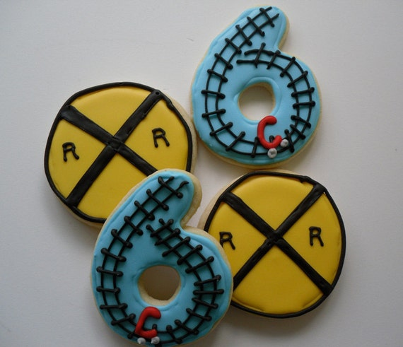Railroad Sign and Train Track Numbers Train Birthday Party Cookies
