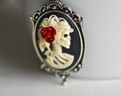 Miss Little Corpse Gothic necklace -(medium) - Lolita Skeletal Zombie Lady Cameo - RED ROSE