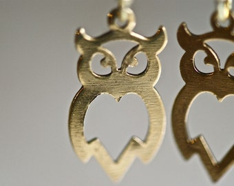 NEW - Sweet Owl Earrings - antique gold - Made in USA brass