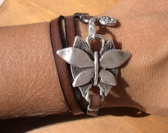 multi wrap  brown leather bracelet with silver butterfly connector