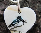 Handpainted pendant, sterling silver chain, original acrylic Kingfisher bird with fish, on mother of pearl by E. M. Halle.