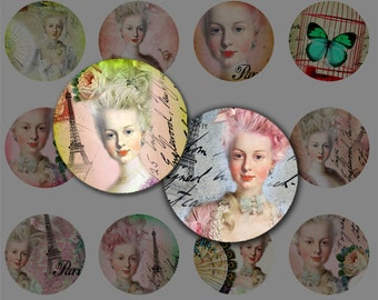 Marie Antoinette 1 Inch Circles, Craft Scrapbooking Supply,Pendant,ScrapBooking, Magnet, Buttons,Bottle Cap,Printable Digital Collage Sheet