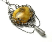 FREE SHIPING - - - Certhonis - wire-wrapped silver pendant with amber RESERVED for ryturrismith