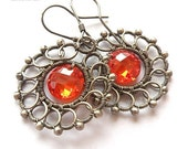 Altharis  - silver wire wrapped earrings with cubic zirconia - made to order