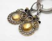 Merlon  - silver wire wrapped earrings with citrine, gold pyrites and black spinel