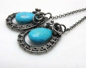 Heian    - silver wire wrapped earrings with turquoise