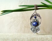 Reserved Silver blue pendant, lapis, Wirework, Metalwork