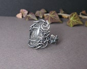 Silver wire wrapped ring with black rutilated quartz - Goth Style