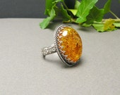 Silver metalwork ring, natural gold amber, romantic, vintage style