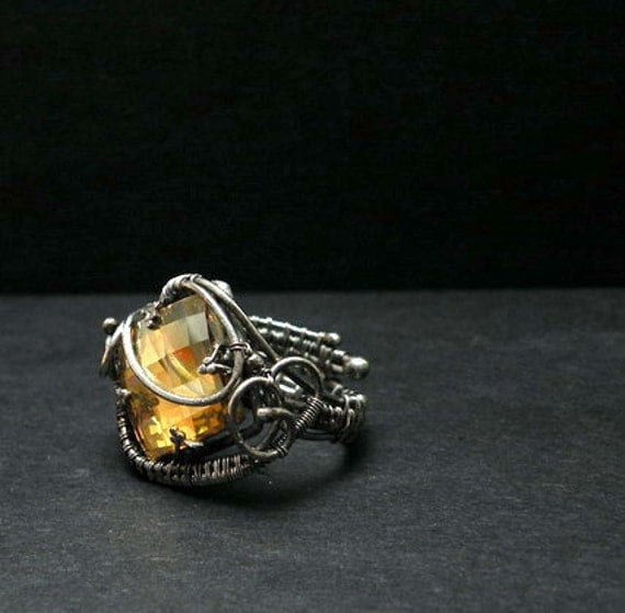 Luxury silver wire wrapped ring with gold Swarovski crystal