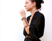 Reserved for chinad0ll - 30% OFF - m a d 1 8 0  -  Metallic Snakeskin Leather Gladiator Cuff Bracelet w/ Brass Cone Studs