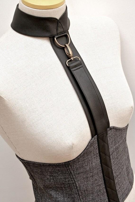 SAMPLE SALE - m a d 2 0 9  -  Dark Grey Tweed and Lambskin Leather Underbust Cincher w/ Collar and Antique Brass Hardware - Size Medium