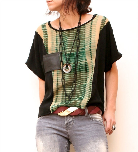 m a d 2 0 3  -  Sheer Chiffon Green and Tan Tie-dye Colorblock Dolman Sleeve Shirt w/ Black Leather Pocket - Size Small to Medium
