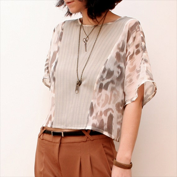 m a d 1 9 7  -  Silver Linen and Leopard Print Sheer Chiffon Gauze Colorblock Dolman Sleeve Blouse -  Size Small