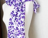 Scarf Floral Print Purple and White Watercolor Cotton Spring Scarf