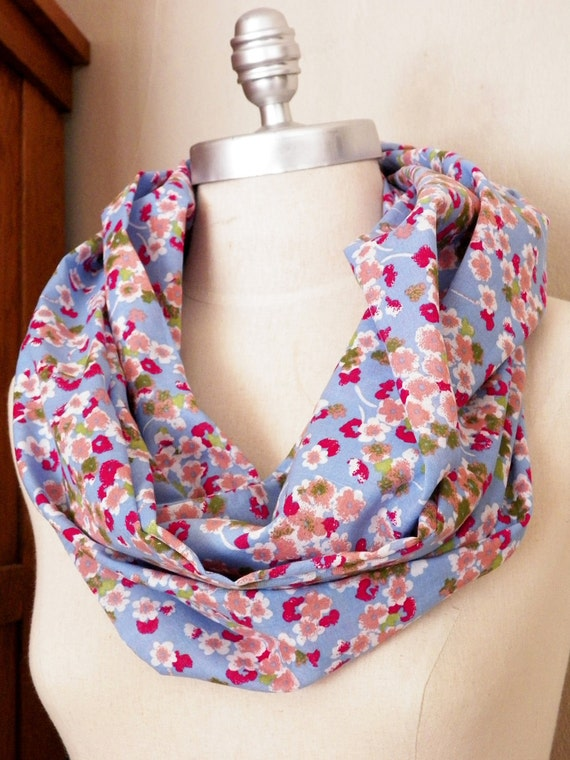 Fabric Infinity Scarf, Cherry Blossoms, Cotton, Blue and Pink Watercolor Floral Print, Loop Scarf, Mobius Scarf