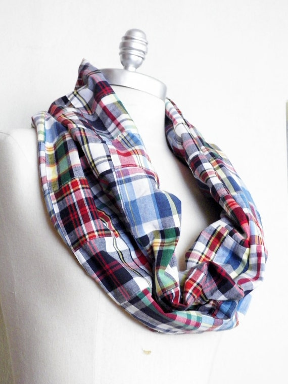 Plaid Patchwork Scarf Lightweight Infinity Loop with White, Blue, Red, Green, and Yellow