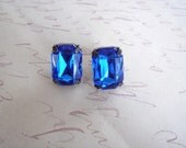 Vintage Glamour Post Earrings Sapphire Large