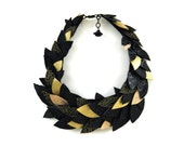 Thousand leaves choker necklace- made to order - black and gold