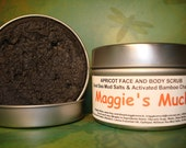 Apricot Face & Body Scrub 4oz. Activated Bamboo Charcoal , Dead Sea Mud Salts