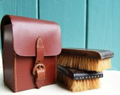 Travel Set of Two Clothes Brushes in a Leather Case - Luxury Ebony and Natural Bristle - English - from England / UK